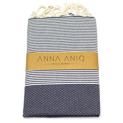 ANNA ANIQ Premium Fouta Hamamtuch Saunatuch Strandtuch XXL Extra Groß 200 x 100cm - 100% Baumwolle aus Tunesien, orientalisches Bade-Tuch, Yoga, Pestemal, Strand-Handtuch (Mitternachts-Blau)