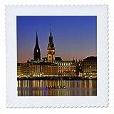 3dRose qs_50895_1 Hamburg Germany at Nite Quilt Square, 10