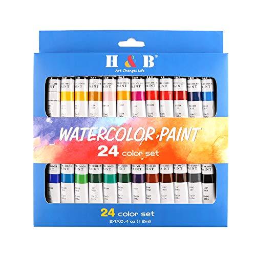 Tubo de pintura a óleo Aibecy 24 cores de pintura acrílica para pintura em tela, argila, cerâmica e artesanato, secagem rápida – para crianças e adultos