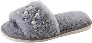 OVERMAL Women's Comfy Plain Rubber Sandals Leisure Pearl Plush Non-Slip Slippers Women's Flip Flop Faux Fur Soft Slide Flat Slipper Limit