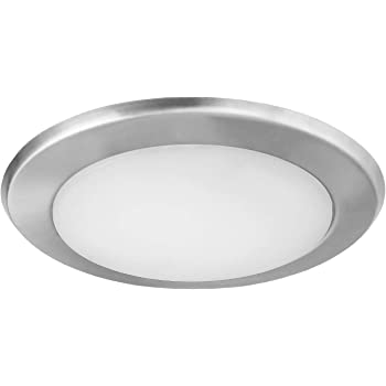 Ostwin 6 Inch Led Disk Light Dimmable Low Profile Ceiling Light Brushed Nickel Finish Flush Mount Fixture 15w 100w Eq 1300lm 4000k J Box Or Recessed Can Wet Location Etl Energy Star Amazon Com