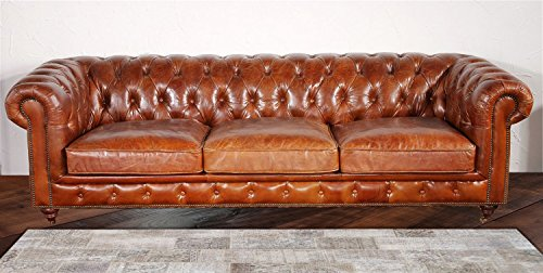 Pasargad Home Chester Bay Genuine Leather Tufted Sofa Brown