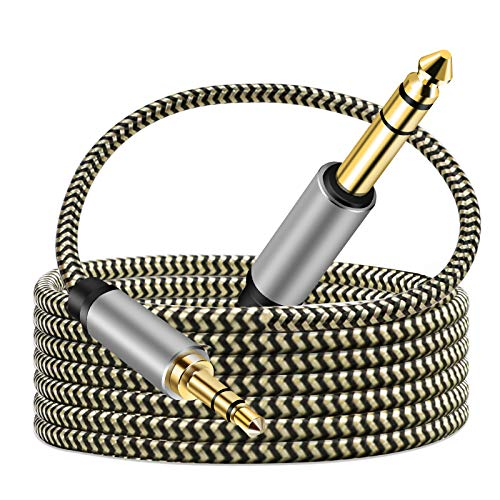 3.5mm to 6.35mm Audio Cable 10Ft, Gold-Plated Terminal Silver Color Zinc Alloy Housing 3.5mm 1/8' Male TRS to 6.35mm 1/4' Male TRS Nylon Braided Stereo Audio Cable for iPhon(10Ft/3m)