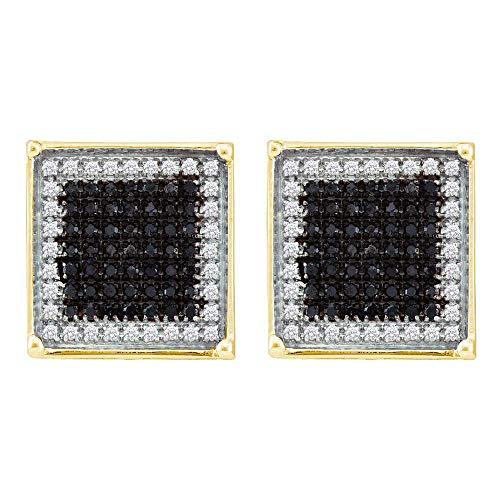 Pendientes cuadrados de oro amarillo de 10 quilates, color negro redondo, con diamantes mejorados, 1,00 quilates para hombre
