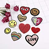 A/N Sew On/Iron On Patch Embroidery Badge Patch, Suitable for DIY Jackets T-Shirt Backpacks, Jeans, 10 Stück Pailletten Liebe Smiley-Set