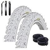 """Maxxi4you - Set di 2 pneumatici Kenda K-829 da 26"""" per mountain bike, rivestimento bianco 50-559 (26 x 1,95) + 2 camere d'aria abbinate DV con 3 leve per pneumatici"""