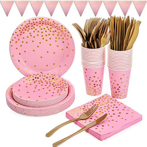 Duocute Platos Fiesta Oro Rosa 150 Piezas Vajilla Papel Cumpleaños Incluye Platos Servilletas Cubiertos Vasos Banner para Despedida de Soltera, Compromiso, Baby Shower, Aniversario(25 Invitados)