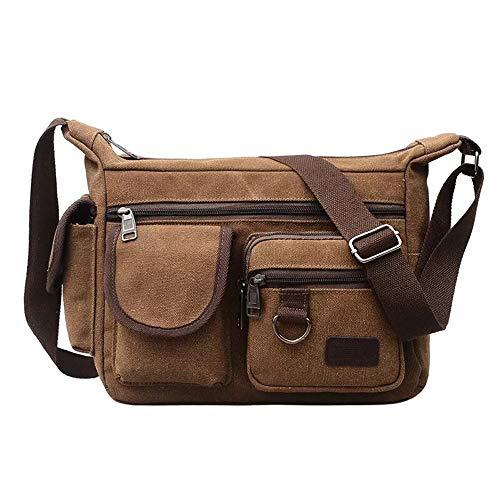 BOMKEE Canvas Messenger Bag Schultertasche Umhängetasche Umhängetasche Herren Wasserdicht Tasche für Reisen, Wochenender, Schule (Kaffee)