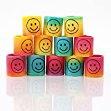 Shatchi 24 Mini Rainbow Smiley Face Springs Slinky Pinata Party Loot Bag Fillers Toy, 3.5 cm, Multi-Colour