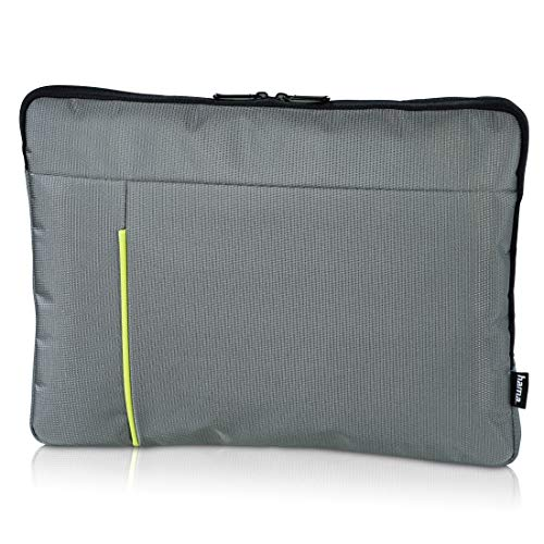 Hama Laptop-hoes, voor notebooks tot 40 cm/15,6 inch (Laptop-Sleeve met ritssluiting, Slim-Design, gewatteerd) laptoptas, beschermhoes grijs/groen