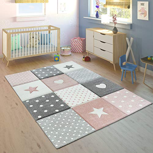 Paco Home Alfombra Infantil Pastel Cuadros Puntos Corazones Estrellas Blanco Gris Rosa, tamaño:80x150 cm
