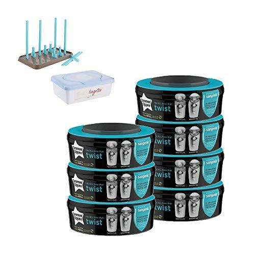 Lot de 7 boîtes+ séchoir + distributeur de lingettes Sangenic Bleu