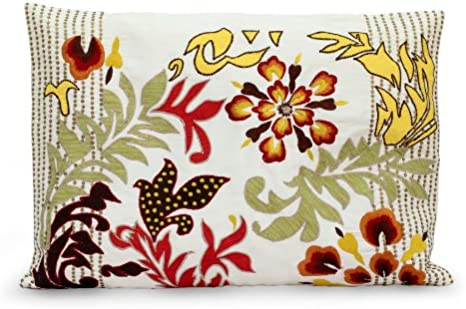 Novica Multicolor Modern Polyester Throw Pillow Cover Flamboyant Flowers Home Kitchen