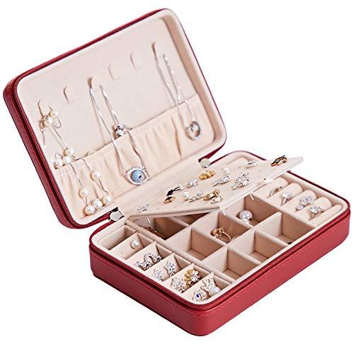 Multifunktionale Sammelbox, Schmuckschatulle Tragbare Ohrringe Einfach, Ohrringe Ohrringe Ring Schmuck Sammelbox.Rot.