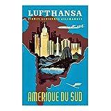 KONGQTE Lufthansa Südamerika Retro Vintage Poster Leinwand
