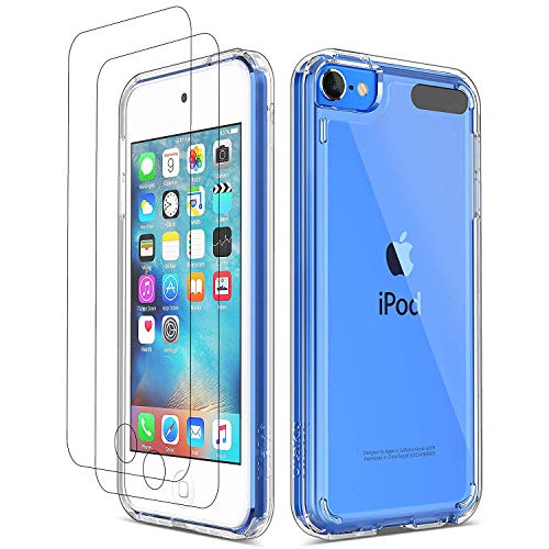 ULAK iPod Touch 7 Hülle, iPod Touch 5/6 Hülle Durchsichtig mit 2 Schutzfolie Crystal Clear Schutzhülle Transparent Soft TPU Bumper Hard Case Cover für Apple iPod Touch 5/6/7 - Kristall Klar