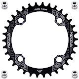 YBEKI Plato de Bicicleta 32T 34T 36T 38T 40T 42T 44T 46T 48T 50T 52T Plato 104BCD Redondo Ovalado Estrecho Ancho Unico Monoplato para Bicicleta de Montaña Bicicleta de Carretera (Redondo Negro, 32T)