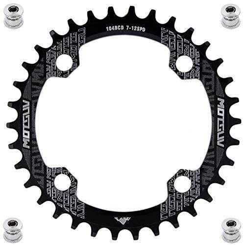 YBEKI 32T 34T 36T 38T 40T 42T 44T 46T 48T 50T 52T Runden Oval Fahrrad Kettenblatt, Schmale Breite Kettenblätter 104 BCD für Rennrad Mountainbike BMX MTB (schwarz runden, 34T)