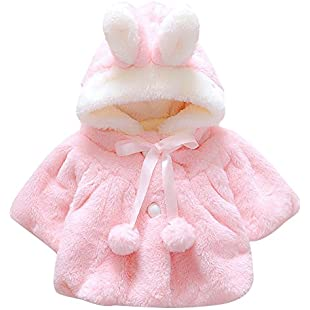 CHIC-CHIC Newborn Infant Baby Girl Faux Fur Warm Winter Hooded Cape Cloak Hoodie Coat (0-6 months, Pink)