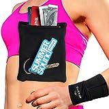 AVANTO Ninja Wrist Wallet 2-Pack, Ankle Wallet, iPhone Holder for Running, Phone Armband, Hidden Sleeve Pouch, Travel wallet, Sweatbands, Hidden pocket for Wrist, Arm, Leg, Calf, Black, XL/XXL