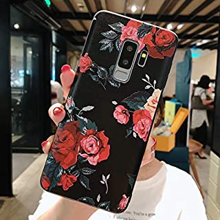 Maxlight Flower Phone Case for Samsung Galaxy S9 S8 Plus Matte Rose Floral Leaves Back Cover for Samsung Note 9 Soft TPU Cases (A, for Galaxy S9)