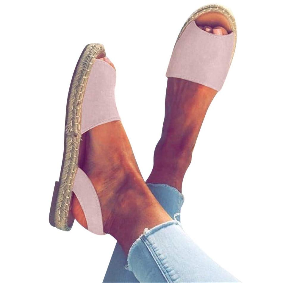 WEISUN Women Flat Sandals Women Ankle Strap Roman Slippers Summer Espadrilles Retro Peep-Toe Sandals Ladies Beach Shoes
