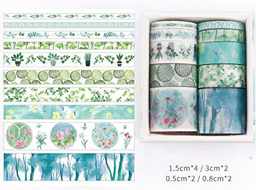 Sarah Duke Antner Blumen Muster Washi Masking Tape Collection, Set aus 10 Rollen für Scrapbooking Kunst Handwerk Büro Party Supplies und Geschenkverpackung (D)