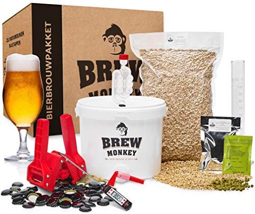 Brew Monkey® Compleet Blond bierbrouwpakket | bierbrouwset startpakket om zelf bier te brouwen in je eigen keuken | met verse ingrediënten | herbruikbare vergistingsemmer | origineel cadeau!