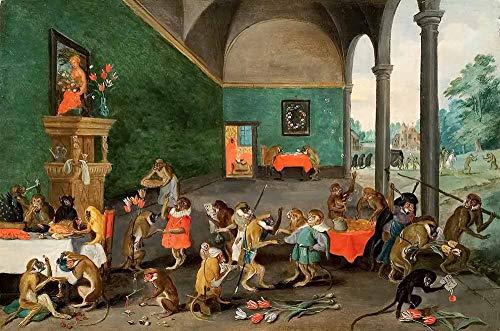 JH Lacrocon Jan Brueghel el Joven - Tulipomania Reproducción Cuadro sobre Lienzo Enrollado 60X40 cm - Pinturas Animales Impresións Decoración Muro