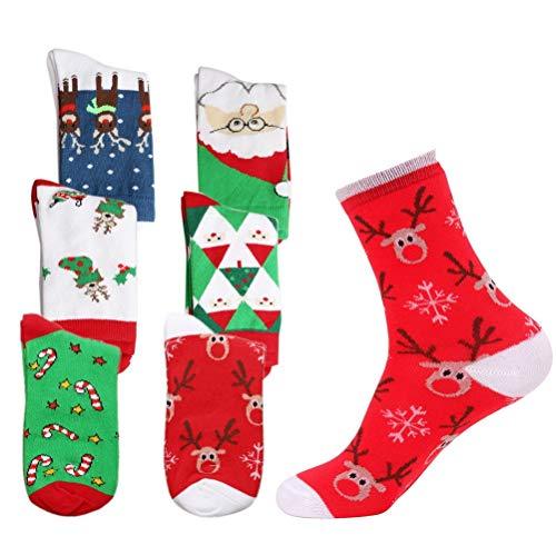 nuoshen 6 Pairs Cotton Festive Socks, Santa Sock Men or...