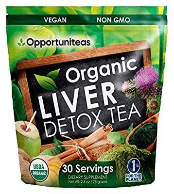Organic Liver Detox Tea - Matcha Green Tea, Milk Thistle, Coconut Water, Spirulina, Ginger, & Cinnamon - Natural Cleanse to Boost Energy & Feel Better - Liver Care Support Supplement. Vegan & Non GMO from Opportuniteas