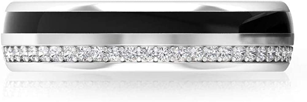 Unique Black Enamel Wedding Ring, IGI Certified Diamond Eternity Band, Stackable Anniversary Ring, IJ-SI Color Clarity Diamond Promise Ring, 14K White Gold, Size:US 9.5