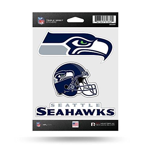 NFL Rico Industries  Die Cut 3-Piece Triple Spirit Sticker Sheet, Seattle Seahawks