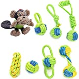 FerDIM Dog Rope Toy - Puppy Chew Teething Toys - Monkey Dog Toy - 100% Nature Cotton Ball Toy - 8 Pack Rope chew Toys for Small and Medium Dog - Interactive Play Toy for toss and tug Play (Monkey)