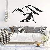 Calcomanía de Pared de Esquiador Alpino Vinilo esquí niños Arte Dormitorio Interior decoración del hogar 57X32cm