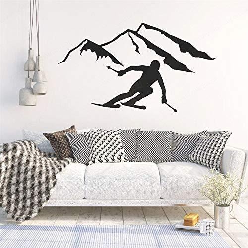 Ajcwhml Esquí de montaña Hombre calcomanía de Pared Vinilo esquí Deportes Extremos para niños Cartel artístico para Dormitorio 102X57CM