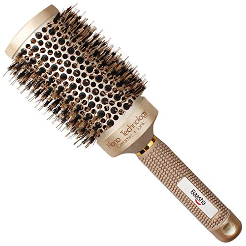 Baasha Extra Large Round Brush 3 Inch Hair Brush With Boar Bristle Dry Round Brush for Long Hair Boar Bristles Round Brush For Blow Drying Large Ceramic Brushes for Curly Hair Ceramic Round Barre