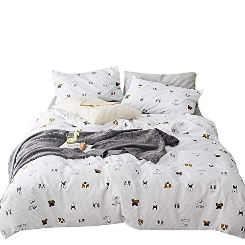OTOB Teen Cotton Puppy Dogs Bedding Sets Queen with 1 Duvet Cover 2 Pillowcases, Reversible Kids Full Bed Duvet Cover Set for Girls Children Boys White Black Soft Full/Queen