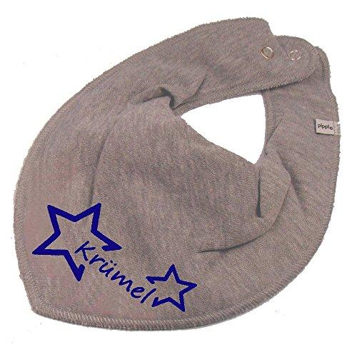 Elefantasie Elefantasie HALSTUCH Stern mit Namen oder Text personalisiert grau für Baby oder Kind