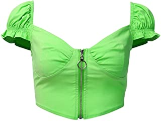 Women's Elegant V-neck Knit Vest Lo Shi Short-sleeved Zip-front Gothic (Color : Green, Size : M)
