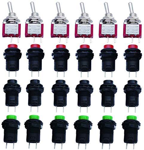 VISSQH 18pcs 12mm Pulsador pulsador redondo Interruptor de botón de Bloqueo+6pcs interruptor palanca Mini para Trompeta de Coche, PC, Lámpara de Mesa, Timbre de Casa