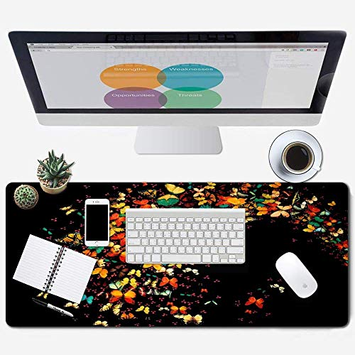 Galdas Large Mouse Pad XXL XL Large Mouse Pad Long Extended Mousepad Desk Pad Non-Slip Rubber Mice Pads Stitched Edges Thin Pad (31.5x11.8x0.08 Inch) (Flowers) …