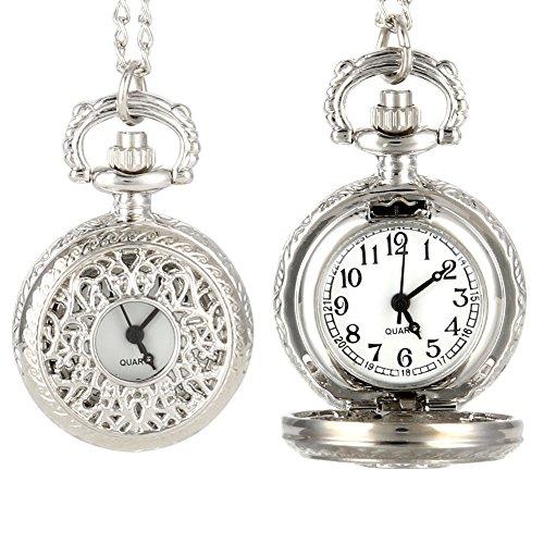 Reloj de Bolsillo Vintage Mujeres Cuarzo Bolsillo Reloj Aleación Abierta Hueco hacia Fuera Flores Señora Suéter Cadena Collar Colgante Reloj Regalos
