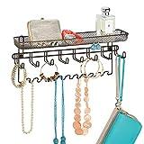 mDesign Organizer accessori con mensola – Pratico portaoggetti a parete per chiavi, cellulari, monete ecc. – Ideale anche come portagioie pensile e porta cinture e cravatte – bronzo