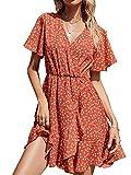 ABINGOO Vestito da Donna Estate Mini Abito da Casual Cocktail Maniche Corte Vestiti Spiaggia Scollo V Floreale,Arancione,M