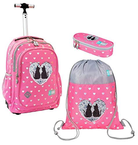 Sweet Kitty Gatto Rosa Set Zaino Trolley, Sacca Sport,Astuccio,Scuola Elementare Media Ragazza, Bambina
