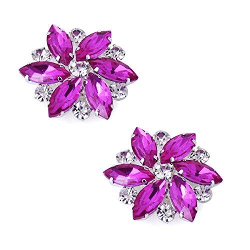 Duosheng & Elegant AJ Vestido de cristal Sombrero Decoraciones para zapatos Clips Accesorios Pedrería de moda Clips de zapatos de fiesta de graduación de boda Fucsia 2 piezas