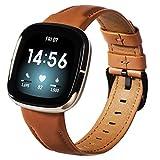 KADES Compatible con Fitbit versa 3, correa de repuesto de piel auténtica compatible con Fitbit Versa Sense, correa de piel suave para hombre y mujer para reloj Fitbit Versa 3 (marrón)