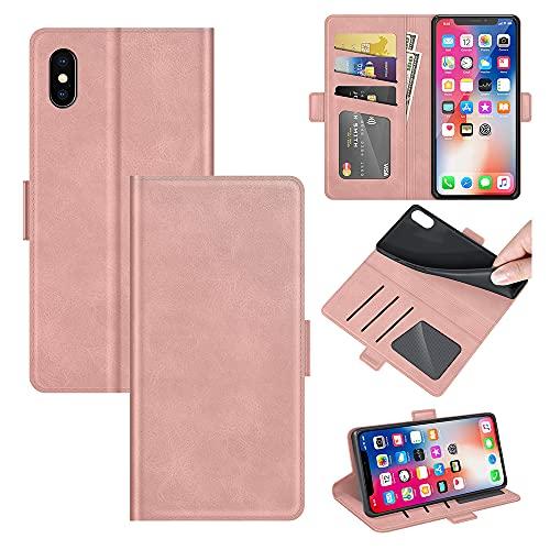 AKC Funda iPhone XS/iPhone X Carcasa Caja Case con Flip Folio Funda Cuero Premium Cover Libro Cartera Magnético Caso Tarjetero y Suporte-Oro Rosa