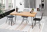 Gozos Mesa de comedor de madera maciza de tronco de árbol – Mesa de comedor de madera maciza 120 x 80 cm con patas de...